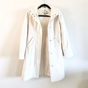 Guess | Wool Blend Cream Zip Hooded Pea Coat